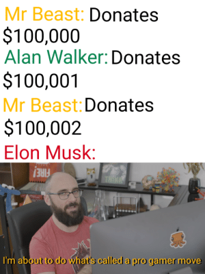 DONATE A MILLION DOLLARS MUSK by SpanksMcYeet MORE MEMES: Mr Beast: Donates  $100,000  Alan Walker: Donates  $100,001  Mr Beast: Donates  $100,002  Elon Musk:  FIRE!  I'm about to do what's called a pro gamer move DONATE A MILLION DOLLARS MUSK by SpanksMcYeet MORE MEMES