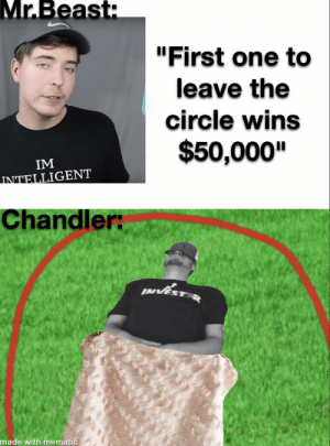 """Black, Black and White, and White: Mr.Beast:  """"First one to  leave the  circle wins  $50,000""""  IM  INTELLIGENT  Chandler:  made with mematic Don't mind Chandler being in black and white"""