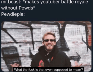 Fuck, Mean, and Battle Royale: mr.beast: *makes youtuber battle royale  without Pewds*  Pewdiepie:  What the fuck is that even supposed to mean? Mr beast why