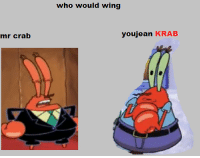 crab: mr crab  who would wing  youjean KRAB