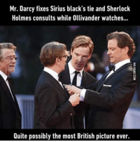 Sherlock: Mr. Darcy fixes Sirius black's tie and Sherlock  Holmes consults while Ollivander watches...  Quite possibly the most British picture ever.