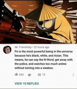 He's too dangerous to be kept alive: Mr. Friendship · 22 hours ago  Po is the most powerful being in the universe  because he's black, white, and Asian. This  means, he can say the N-Word, get away with  the police, and watches too much anime  without turning into a weaboo.  a 10  542  VIEW 10 REPLIES He's too dangerous to be kept alive
