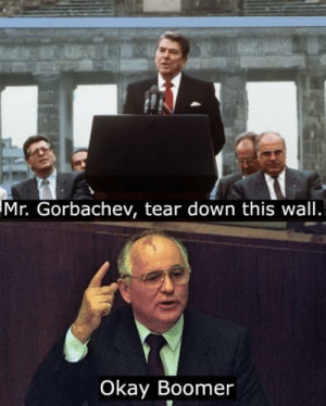 30 years ago today: Mr. Gorbachev, tear down this wall.  Okay Boomer 30 years ago today