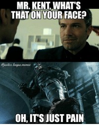 """*posts pro Batman meme* *cricket sounds* *posts pro Superman meme* """"All you ever do is hate on Batman! How dare you mock the batgod!!1!1!"""" -Nightwing: MR. KENT,WHAT'S  THATON YOUR FACEP  ustice.league.memes  OH, IT'S JUST PAIN *posts pro Batman meme* *cricket sounds* *posts pro Superman meme* """"All you ever do is hate on Batman! How dare you mock the batgod!!1!1!"""" -Nightwing"""