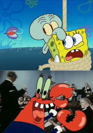 Mr Krabs feeds Spongebob and Squidward to the clam meme template: Mr Krabs feeds Spongebob and Squidward to the clam meme template