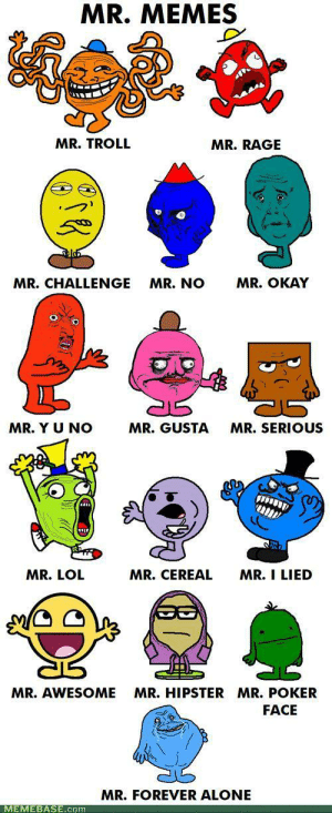 Mr. Memes: MR. MEMES  MR. TROLL  MR.RAGE  MR. OKAY  MR.CHALLENGE  MR. NO  MR. Y U NO  MR. GUSTA  MR.SERIOUS  MR. CEREAL  MR. I LIED  MR. LOL  MR.HIPSTER MR. POKER  MR. AWESOME  FACE  MR.FOREVER ALONE  MEMEBASE.com Mr. Memes