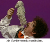 Mr. Noodle commits cannibalism The longer you stare at it, to sooner you'll get the pun.