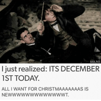 Memes, Snitch, and 🤖: MR NS  I just realized: ITS DECEMBER  1ST TODAY  ALL WANT FOR CHRISTMAAAAAAAS IS  NEWWWWWWWWWWWWWT. Please and thank you PS it's also my birthday around Christmas  ~Loony Snitch