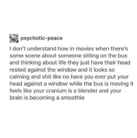 HAHAHA SO TRUE: MR  psychotic-peace  I don't understand how in movies when there's  some scene about someone sitting on the bus  and thinking about life they just have their head  rested against the window and it looks so  calming and shit like no have you ever put your  head against a window while the bus is moving it  feels like your cranium is a blender and your  brain is becoming a smoothie HAHAHA SO TRUE