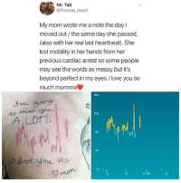Love, Memes, and Lost: Mr. Tall  @thomas resch  My mom wrote me a note the day l  moved out/the same day she passed,  (also with her real last heartbeat). She  lost mobility in her hands from her  previous cardiac arrest so some people  may see the words as messy but it's  beyond perfect in my eyes. I love you so  much momma  160  120  A LOT  80  40  0  12  12 PM Love