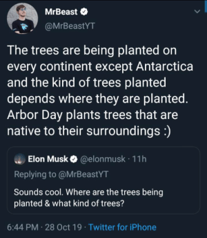 Keanu reeves would be proud: MrBeast  @MrBeastYT  The trees are being planted on  every continent except Antarctica  and the kind of trees planted  depends where they are planted.  Arbor Day plants trees that are  native to their surroundings:)  Elon Musk@elon musk 11h  Replying to @MrBeastYT  Sounds cool. Where are the trees being  planted & what kind of trees?  6:44 PM 28 Oct 19 Twitter for iPhone Keanu reeves would be proud
