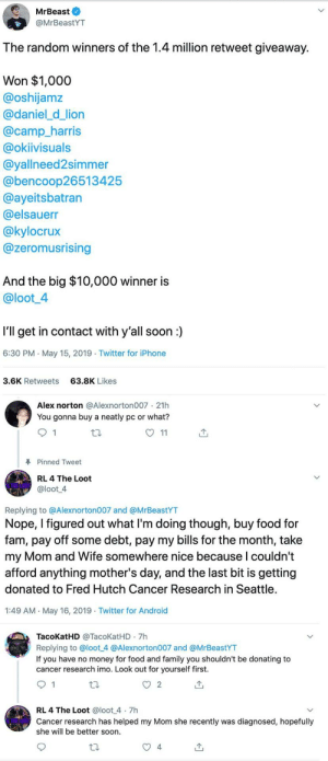 The right person won the 10k prize.: MrBeast O  @MrBeastYT  The random winners of the 1.4 million retweet giveaway.  Won $1,000  @oshijamz  @daniel_d_lion  @camp_harris  @okiivisuals  @yallneed2simmer  @bencoop26513425  @ayeitsbatran  @elsauerr  @kylocrux  @zeromusrising  And the big $10,000 winner is  @loot4  I'll get in contact with y'all soon:  6:30 PM May 15, 2019 Twitter for iPhone  3.6K Retweets  63.8K Likes  Alex norton @Alexnorton007 21h  You gonna buy a neatly pc or what?  O 11  Pinned Tweet  RL 4 The Loot  @loot 4  Replying to @Alexnorton007 and @MrBeastYT  Nope, I figured out what Il'm doing though, buy food for  fam, pay off some debt, pay my bills for the month, take  my Mom and Wife somewhere nice because l couldn't  afford anything mother's day, and the last bit is getting  donated to Fred Hutch Cancer Research in Seattle  1:49 AM May 16, 2019 Twitter for Android  TacoKatHD @TacoKatHD 7h  Replying to @loot 4 @Alexnorton007 and @MrBeastYT  If you have no money for food and family you shouldn't be donating to  cancer research imo. Look out for yourself first.  RL 4 The Loot @loot 4 7h  Cancer research has helped my Mom she recently was diagnosed, hopefully  she will be better soon  4 The right person won the 10k prize.