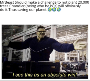 Memes, Trees, and Make A: MrBeast Should make a challenge to not plant 20,000  trees.Chandler,(being who he is is) will obviously  do it.Thus saving our planet.  I see this as an absolute win! Are chandler memes dead yet?