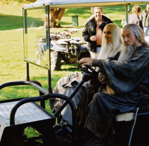 The Lord of the Rings, Tumblr, and Ian McKellen: mrbighandsome:  christopherleefan:  Christopher Lee and Ian McKellen on the set of The Lord of the Rings    Sicko mode