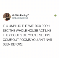 Memes, House, and Wifi: MrBl@ckM@g!C  @PluckDaGreat  IF U UNPLUG THE WIFI BOX FOR 1  SEC THE WHOLE HOUSE ACT LIKE  THEY BOUT 2 DIE YOU'LL SEE PPL  COME OUT ROOMS YOU ANIT NVR  SEEN BEFORE Post 1865: you'll see siblings you never knew you had