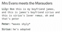Memes, Waves, and Sirius: Mrs Evans meets the Marauders  Lily: Mom this is my boyfriend james,  and this is james's boyfriend sirius and  this is sirius s lover remus  oh and  that's peter  Peter waves shyly*  Sirius: he's adopted 😂😂😂😂 ^EvansLily^