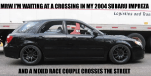 Found on my dad's computer, what does it mean?: MRW I'M WAITING AT A CROSSING IN MY 2004 SUBARU IMPREZA  Logistics and Tran.  AND A MIXED RACE COUPLE CROSSES THE STREET Found on my dad's computer, what does it mean?