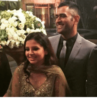MS Dhoni and his wife Sakshi at Yuvraj Singh's reception: MS Dhoni and his wife Sakshi at Yuvraj Singh's reception