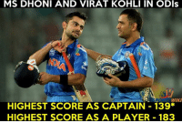 Memes, Coincidence, and 🤖: MS DHONI AND VIRAT KOHLI IN ODls  6  HIGHEST SCORE AS CAPTAIN 139*  HIGHEST SCORE AS A PLAYER 183 Coincidence between Mahirat !