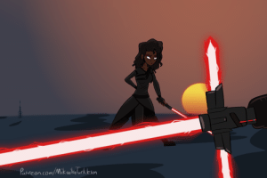 ms-mikail: Illustration related to the New Trilogy rewrite Lily and I are doing. Aliana faces off against a certain Dark Jedi.  How does she fair?  Stay tuned. : ms-mikail: Illustration related to the New Trilogy rewrite Lily and I are doing. Aliana faces off against a certain Dark Jedi.  How does she fair?  Stay tuned.
