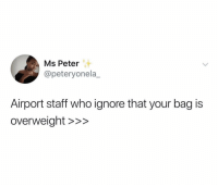 Who, Staff, and Real: Ms Peter  @peteryonela_  Airport staff who ignore that your bag is  overweiaht >>> Real recognize real 😂💯 https://t.co/KkhzFcSly4