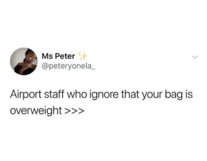Dank, Memes, and Target: Ms Peter  @peteryonela_  Airport staff who ignore that your bag is  overweight >>> They're rare but they're there by flyoverthemooon MORE MEMES