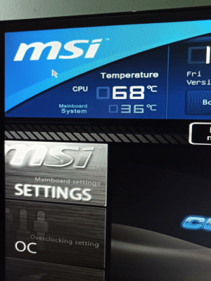 Msi, Cpu, and Web: msi  Fri  Temperature  Versi  CPU 68  Вс  6°C  Mainboardl  System  nST  Mainboard setting  SETTINGS  C  Overclocking setting  OC Is this normal temperature when just broswing the web?