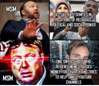 Memes, Shit, and youtube.com: MSM  ACTIALANTI-SEMITESIN  POSITIONS OF RELIGIOUS,  POLTICAL AND SOCIAL POWER  DISH BOY  REVIEWS MEMES RAISE5%  MONEVFOR CHARITY AND TRIES  TO HELP SMALL YOUTUBE  CHANNELS  MSM