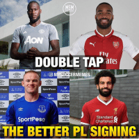 Friends, Memes, and Fanatics: MSM  ON  Fly  DOUBLE TAP ates  U F  USM F  ERMEMES  atics  umbro  umbro  SportPe  SportPe  bro  umbro  tPesa FARCH  sportPesa  UIM FAR M  Fanatics  INCH  A R  natics  umbro  SportPe  bro  umbre  Pes  USM FAR  SportPesa  Standard  Chartered  umbro  THE BETTER PL SIGNING Which one? Comment: Lukaku, Lacazette, Rooney or Salah? 🔥 . Tag your friends bellow 👇 . Double-tap & follow me @mysoccermemes for more!