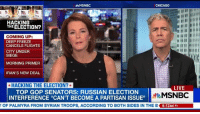 """Chicago, Douchebag, and Memes: MSNBC  CHICAGO  HACKING  THEELECTION?  COMING UP:  DEEP FREEZE  CANCELS FLIGHTS  CITY UNDER  SIEGE  MORNING PRIMER  IRAN'S NEW DEAL  *HACKING THE ELECTION?  LIVE  TOP GOP SENATORS: RUSSIAN ELECTION  MSNBC  INTERFERENCE """"CAN'T BECOME A PARTISAN ISSUE""""  Y OF PALMYRA FROM SYRIAN TROOPS, ACCORDING TO BOTH SIDES IN THE B  6:12AM PT This wasn't the douchebag who screamed 'you lie at Obama  (I thought it was)  But I understand he still a Republican Cow's Taint  How many fucking Repukelican Joe Wilsons are out there?  Still - THIS is how upside down the world is.  I agree with HIM.  Kill me now.  Snarky Democrat"""