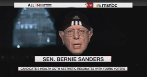 Chris Hayes: msnbc  LIVE e  ALL IN  WITH  CHRIS HAYES  sopipo  SEN. BERNIE SANDERS  CANDIDATE'S HEALTH GOTH AESTHETIC RESONATES WITH YOUNG VOTERS