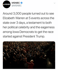 Elizabeth Warren, Msnbc, and Trump: MSNBC  @MSNBC  Around 3,000 people turned out to see  Elizabeth Warren at 5 events across the  state over 3 days, a testament to both  her political celebrity and the eagerness  among lowa Democrats to get the race  started against President Trump Rookie numbers