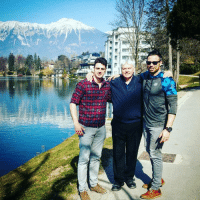 Memes, Time, and Tomorrow: :mst Lovely day with the boys at Lake Bled. First time speaking in Slovenia tomorrow.