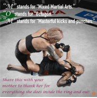"""Happy Mother's Day!: """"M""""stands for Mixed Martial Arts.  O"""" stands for Octagon  Pp  stands for Masterful kicks and punches  Share this with your  mother to thank her for  everything she does inside the ring and outh Happy Mother's Day!"""
