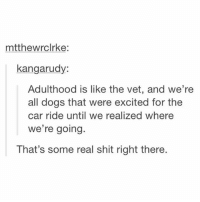 Dogs, Shit, and Relatable: mtthewrclrke:  kangarudy:  Adulthood is like the vet, and we're  all dogs that were excited for the  car ride until we realized where  we' re going.  That's some real shit right there. deep 😭