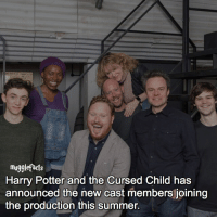 """Harry Potter, Hermione, and Memes: mu  Harry Potter and the Cursed Child has  announced the new cast members joining  the production this summer. qotd : comment """"😏"""" if you knew this and """"😱"""" if you didn't. Jamie Glover, Rakie Ayola and Thomas Aldridge join as the central trio of Harry, Hermione and Ron respectively. Original cast member James Howard will play Draco Malfoy, and Emma Lowndes takes on the role of Ginny Weasley. fc: 96k"""