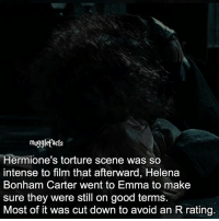 """Memes, Good, and Film: mu  Hermione's torture scene was so  intense to film that afterward, Helena  Bonham Carter went to Emma to make  sure they were still on good terms.  Most of it was cut down to avoid an R rating. qotd : comment """"😏"""" if you knew this and """"😱"""" if you didn't. fc: 98,3k"""