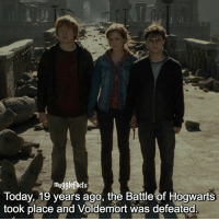 Memes, Today, and All The: mu  Today, 19 years ago, the Battle of Hogwarts  took place and Voldemort was defeated. Raise your wand for all the fallen ones-*