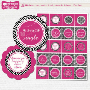 Party, Tumblr, and Blog: mu  vorce non-customized printable labels 2inches  marn  to  marwed  to  sing  le  ain  euew  mavried  ung handmadegift-ideas:  Divorce Party decorations