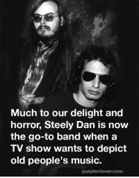 dan: Much to our delight and  horror, Steely Dan is now  the go-to band when a  TV show wants to depict  old people's music.  purpleclover com