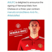 Good deal? 🤔:  #MUFC is delighted to announce the  signing of Nemanja Matic fronm  Chelsea on a three-year contract.  manutd.com/en/News-And-Fe...  #MaticlsRed  WELCOME  NEMANJA MATIC  #MATICISRED  adidas Good deal? 🤔