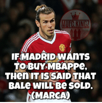 Adidas, Football, and Goals: MUFC.KING  IFMADRID WAnTS  TO BUY MBAPPe,  THenITISSAID THAT  BALe WILL Be SOLD  MARCA) Do you think United should take Bale from Real? Comment Below! ❤️🔥👹 . . . . . manutd mufc manchesterunited degea united neymar footy football soccer rooney sfs s4s like selfie followback followme followforfollow likeforlike goals zlatan pogba mata cr7 nike adidas messi ibrahimovic Ronaldo lukaku matic