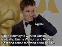 "qotd : comment ""😏"" if you knew this and ""😱"" if you didn't. fc: 60,6k: muggle facts  Eddie Redmayne went to Daniel  Radcliffe, Emma Watson, and Rupert  Grint and asked for wand handling tips. qotd : comment ""😏"" if you knew this and ""😱"" if you didn't. fc: 60,6k"