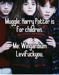 Children, Harry Potter, and Memes: Muggle: Harry Potter is  For chidren  For children.  Me: Wingardium  evifrucKyou.  Levfuckyou Happy 20th anniversary, HarryPotter ⚡️