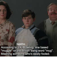 """Memes, Slang/Words, and Meaning: mugglefacts  According to J.K Rowling, she based  muggle"""" on the British slang word """"mug"""".  Meaning someone who's easily fooled. qotd : comment """"😏"""" if you knew this and """"😱"""" if you didn't."""
