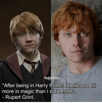"""QOTD: Rupert or Ron?: mugglefacts  """"After being in Harry Potter, I believe a bit  more in magic than l did before  Rupert Grint QOTD: Rupert or Ron?"""