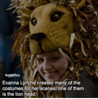 """Guys i know it's lynch but idk why i put that e after it, i make these facts real quick and i don't really look at typos so yeah🙄 qotd : comment """"😏"""" if you knew this and """"😱"""" if you didn't. fc: 90,9k: mugglefacts  Evanna Lynche created many of the  costumes for her scenes, one of them  is the lion head Guys i know it's lynch but idk why i put that e after it, i make these facts real quick and i don't really look at typos so yeah🙄 qotd : comment """"😏"""" if you knew this and """"😱"""" if you didn't. fc: 90,9k"""