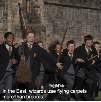"""Memes, Wizards, and 🤖: mugglefacts  In the East, wizards use flying carpets  more than brooms. qotd : comment """"😏"""" if you knew this and """"😱"""" if you didn't. The winners of the shoutout contest will be anounced in my story in a few minutes! Follow my other account: @mypotterposts"""