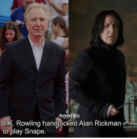 """Memes, Alan Rickman, and J. K. Rowling: mugglefacts  J.K. Rowling handpicked Alan Rickman  to play Snape. qotd : comment """"😏"""" if you knew this and """"😱"""" if you didn't. Follow my other account: @thehpfilms"""