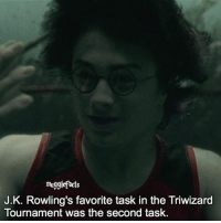 """qotd : comment """"😏"""" if you knew this and """"😱"""" if you didn't.: mugglefacts  J.K. Rowling's favorite task in the Triwizard  Tournament was the second task. qotd : comment """"😏"""" if you knew this and """"😱"""" if you didn't."""